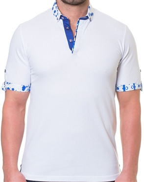 White Blue Short Sleeve Polo Shirt