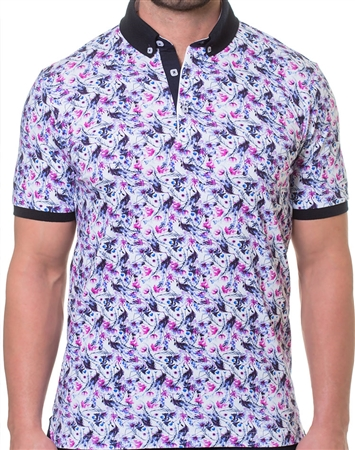 Pink and Purple Print Polo