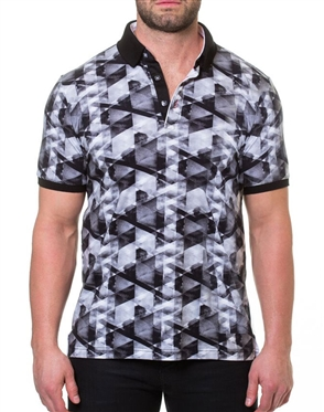Black Gray Short Sleeve Polo