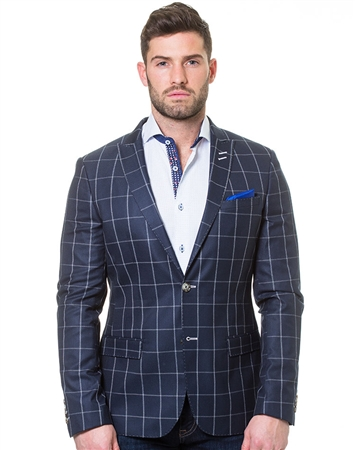 Navy Beige Check Jacket