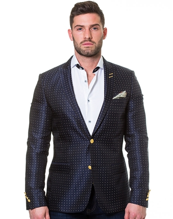 Navy Gold Dot Blazer