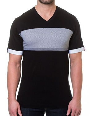 Black Gray Stripe V-Neck