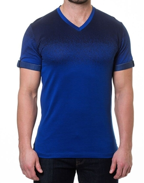 Two-Tone Navy V- Neck Shirt