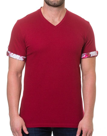 Red Modern Fit V-Neck Shirt