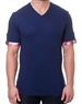 Sporty Solid Navy V-Neck