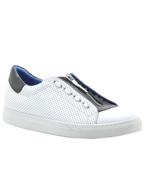 Men- White Casual Zipper Sneakers