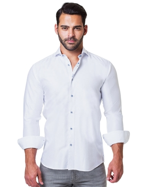 Stylish Dress shirt Ripple White