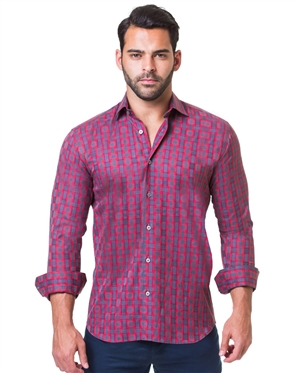 Red Grey check dress Shirt