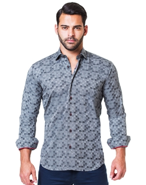 Gray Jacquard Square Dress shirt