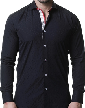 Elegant Maceoo Einstein Crosswise Black Dress Shirt