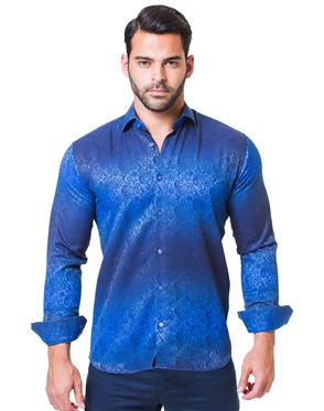 Gradient Navy Blue Paisley Shirt