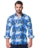 Blue Photograph Print Dress Shirt
