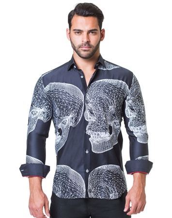 Black White Skull Print Shirt