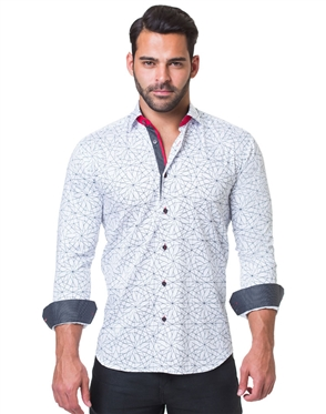 White Geometric Dress Shirt