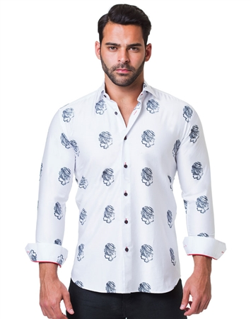 White Black Skull Print Dress Shirt