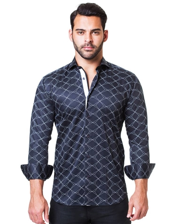 Flashy Scale Black dressy shirt