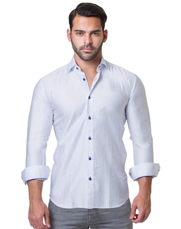 White Blue Print Fashion Shirt
