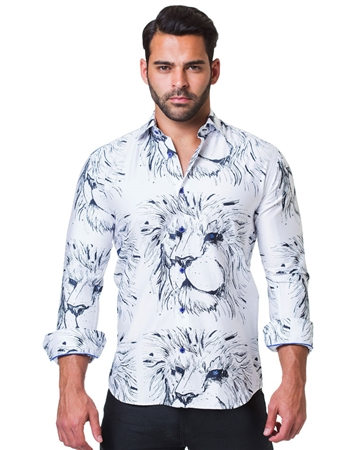 White Black Lion Dress Shirt