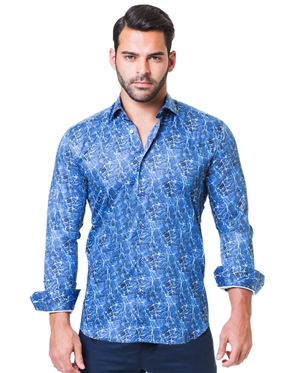 Navy Marble Print Dress Shirt