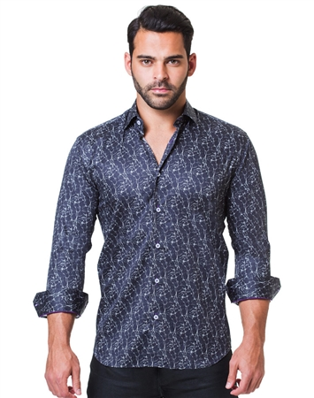 Black Marble Print Dress Shirt