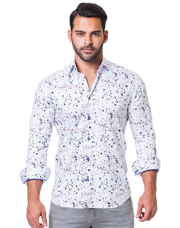 White Multicolored Print Dress Shirt
