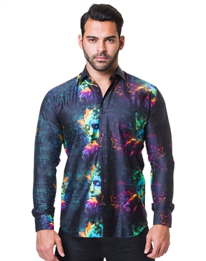 Colorfull Black Dress Shirt