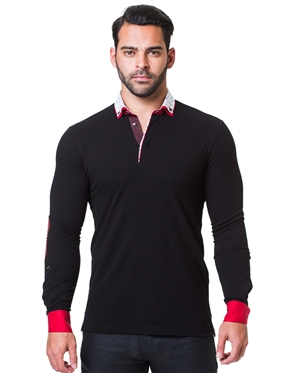 Sporty Long Sleeve Black Polo