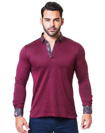 Burgundy and Black Diamond Long Sleeve Polo