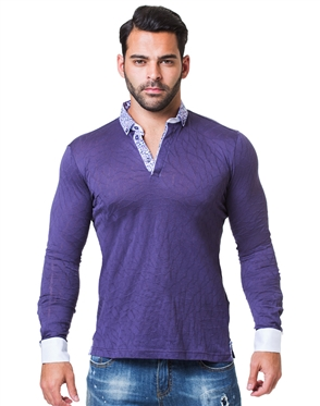 Unique Purple Jacquard Polo shirt