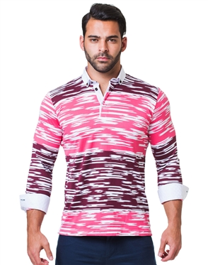 Designer Pink Block Stripe Polo