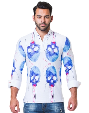 Trendy White Blue Skull Print Polo