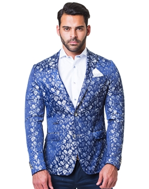 Blue Gray Floral Sport Coat