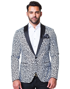Luxury Blazer - White Black Vine
