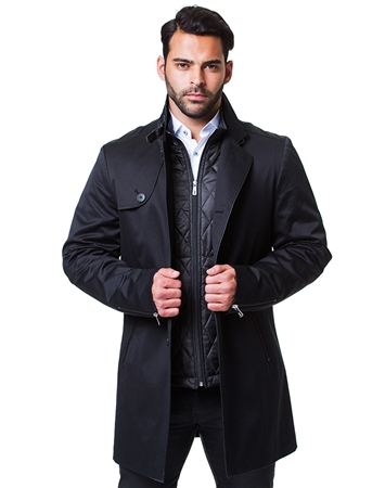 Designer Black Peacoat Ensemble