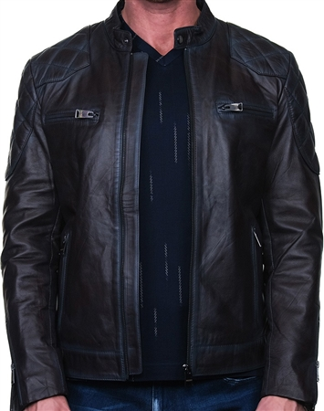 Genuine Leather Moto Jacket - Burgundy