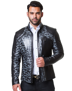 Trendy Black and Grey Leather Jacket
