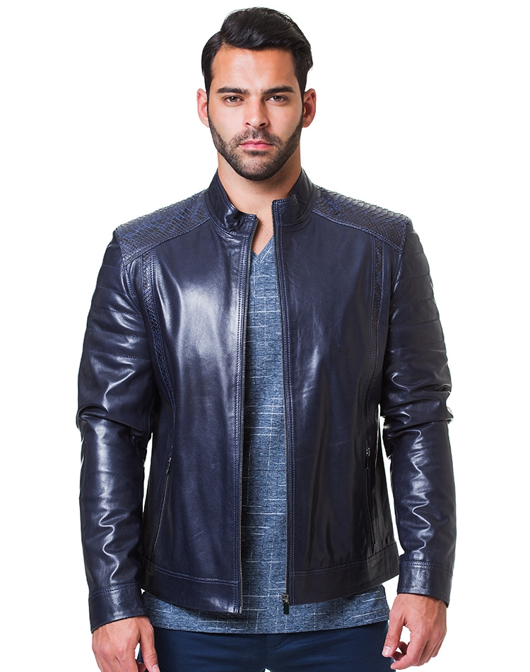 dc434ec8b41 Sporty Navy Leather Jacket