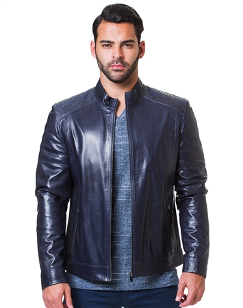 Sporty Navy Leather Jacket