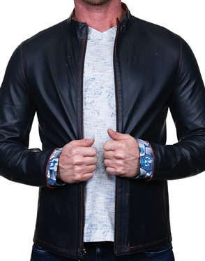 Designer Navy Leather Jacket
