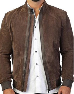 Genuine Leather Moto Jacket - Brown