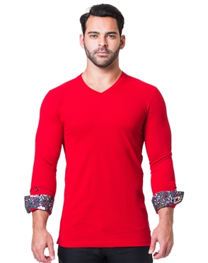 Slim Fit Long Sleeve Burgundy Shirt