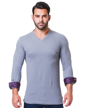 Gray Long Sleeve V-Neck | Designer Grey V-Neck Shirt | Maceoo Lion Collection