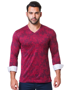 Stylish Red V-Neck Shirt