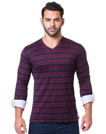 Black Red Check Designer V-Neck Shirt