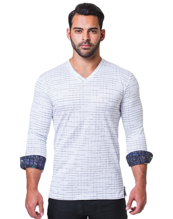White Navy Dashed Check V-Neck Shirt