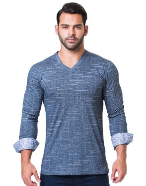 Navy White Dash Check V-Neck Shirt