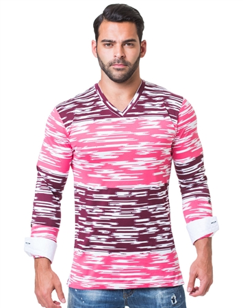 Digitized Pink Color Block V-Neck Shirt