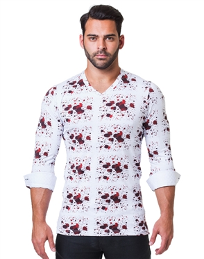 White Red Splash Dress Shirt
