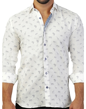 Designer White Safari Linen Shirt
