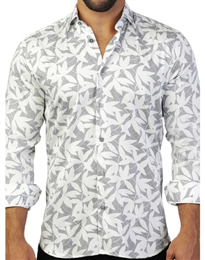 Mesmerizing Leaf Print Dress Shirt